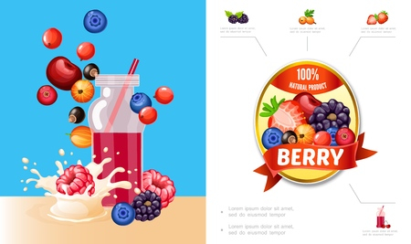 Cartoon berry smoothies concept with cherry blueberry cranberry currants raspberry blackberry milk splashes and natural product label vector illustration