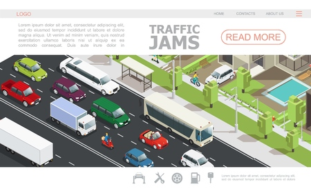 Isometric traffic jam web page template with different cars moving on road in city vector illustration