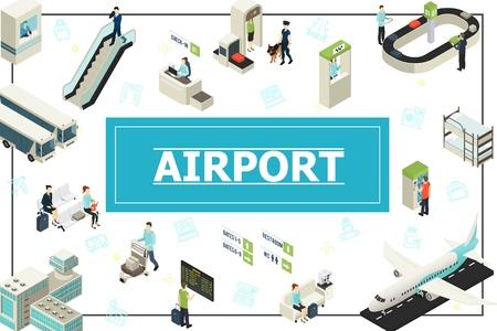 Concepto de aeropuerto isométrico con pasajeros, oficial de policía, mostrador de facturación, control de seguridad, autobús, avión, tablero de salida, escalera mecánica, equipaje, cinta transportadora en la ilustración de vector de marco Ilustración de vector