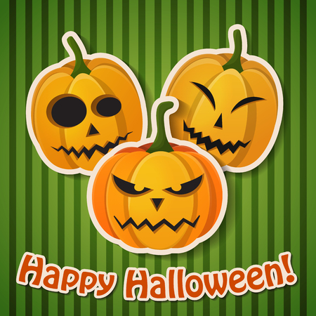 Halloween holiday greeting poster with paper inscription and pumpkins with different emotions on green striped background vector illustration