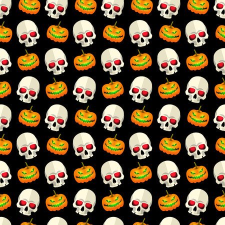 Halloween abstract seamless pattern mosaic design with skulls and funny pumpkins faces on black background flat vector illustration