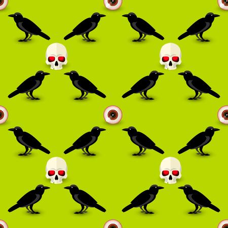 Símbolos de Halloween de patrones sin fisuras con cuervo de cráneo y ojo humano en la ilustración de vector de fondo verde Ilustración de vector