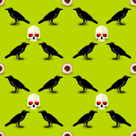 Halloween symbols seamless pattern with skull raven and human eye on green background vector illustration Illustration
