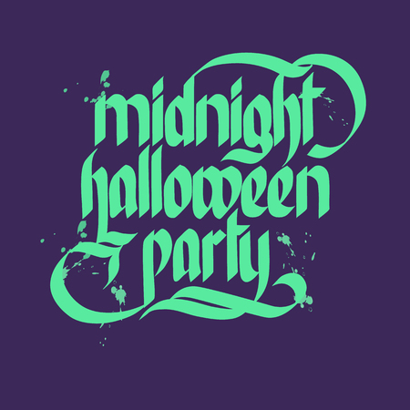 Words midnight halloween party on dark background typographical concept flat vector illustration Ilustração
