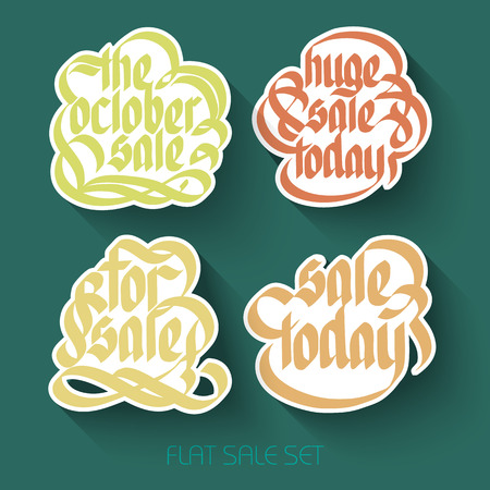 Typographical sale inscriptions set with calligraphic handwritten colorful stickers in flat style isolated vector illustration