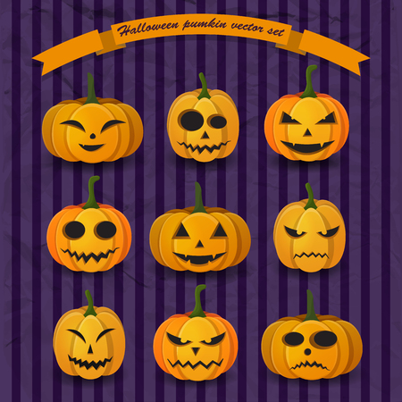Festive Halloween pumpkins collection with different expressions and emotions on purple striped background vector illustration
