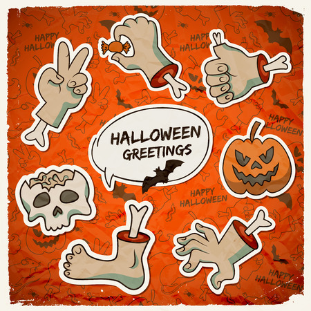 Trick or treat Halloween template with paper zombie arms gestures pumpkin skull on icons background vector illustration