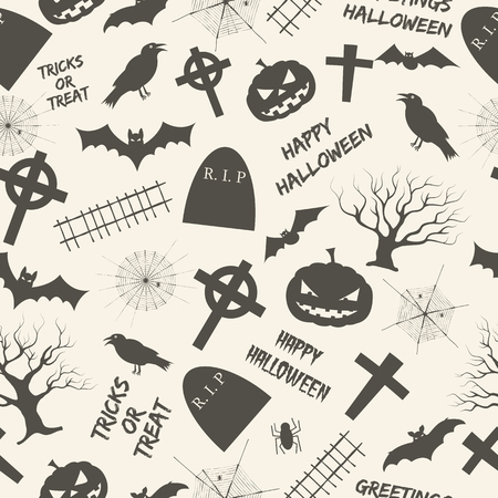 Halloween monochrome seamless pattern with tombstones and crosses trees and animals spiderwebs and festive letterings vector illustration