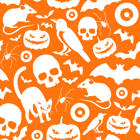 Halloween symbols seamless orange pattern with white cartoon icons of pumpkins cats rat crows bats skulls eyeball spider flat vector illustration
