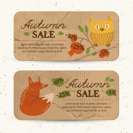 Flat autumn sale horizontal banners with text percent rates leaves owl fox and cowberry branch vector illustration