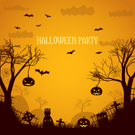 Halloween party orange poster with silhouettes  of dead trees spooky pumpkin faces and gravestones flat vector illustration