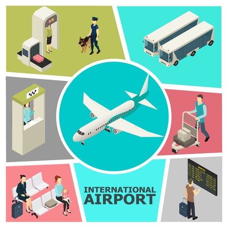Isometric airport colorful template with customs control check-in desk passengers in waiting hall buses departure board airplane vector illustration