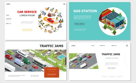 Car service and traffic jam websites with workers repair and fix automobiles gas station vehicles moving on road gas station vector illustration