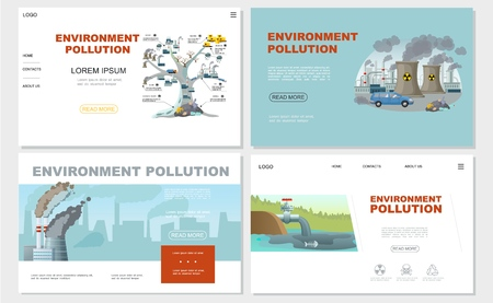 Flat environment pollution websites set with chimneys factory ecology contamination tree and oil in pond vector illustration Vectores