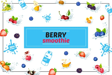 Cartoon sweet natural smoothies concept with grapes bananas pear cherry coconut strawberry blueberry raspberry cranberry blackberry pomergranate in milk splashes vector illustration Illusztráció