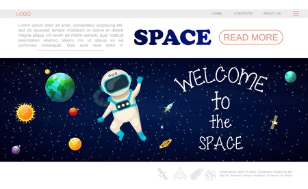 Flat solar system landing page template with sun planets astronaut in outer space spaceship stars satellite vector illustration