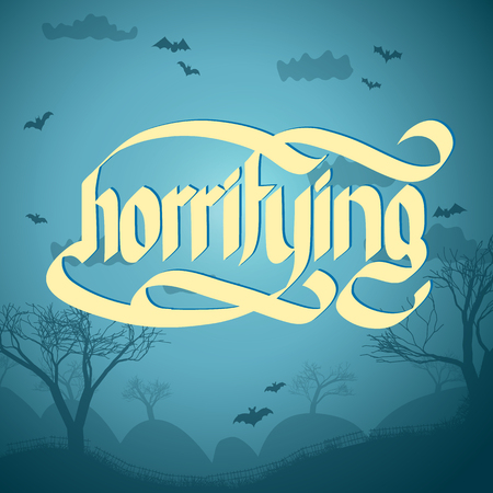 Word horrifying written on halloween grey background with flying bats flat vector illustration