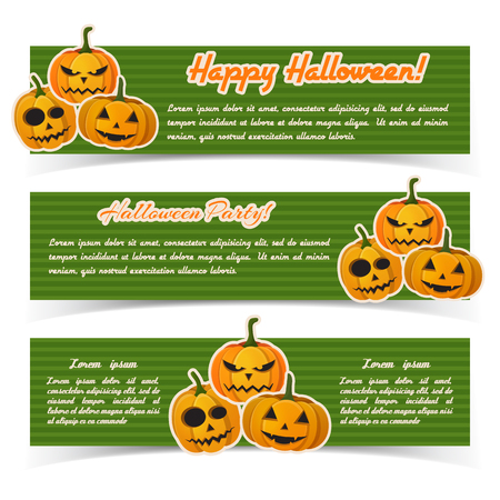 Happy Halloween abstract horizontal banners with text and paper scary pumpkins stickers on green striped background vector illustration