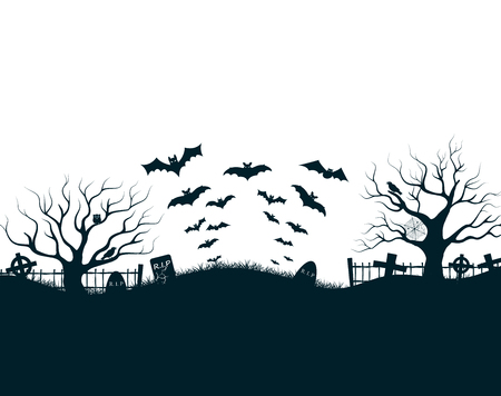Halloween night background poster with dark castle cemetery crosses, dead trees and bats at blue lunar sky vector illustration Çizim