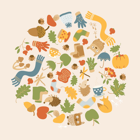 Golden autumn round composition with colorful seasonal icons and elements on light background vector illustration  イラスト・ベクター素材