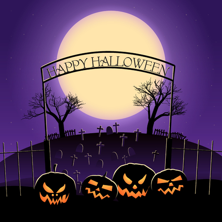 Happy halloween design with huge moon and stars lanterns of jack cemetery on purple background vector illustration