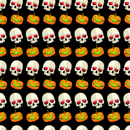 Halloween seamless pattern striped design with skulls and pumpkins faces cartoon icons on black background flat vector illustration