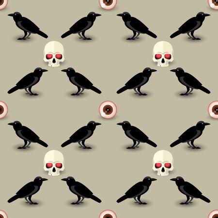 Creepy Halloween seamless pattern with skull black raven and human eye vector illustration Stock Vector - 108617551