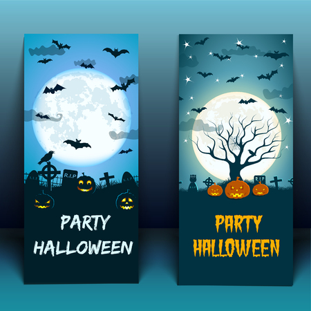 Halloween at cemetery banners with birds lanterns of jack moon on blue 3d background isolated vector illustration