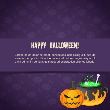 Abstract festive Halloween template with text evil pumpkin potion boiling in cauldron on purple background vector illustration