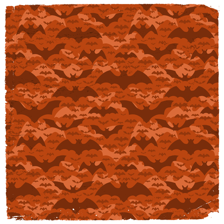 Halloween grunge pattern with dark flying pipistrelles on red background flat vector illustration Illustration