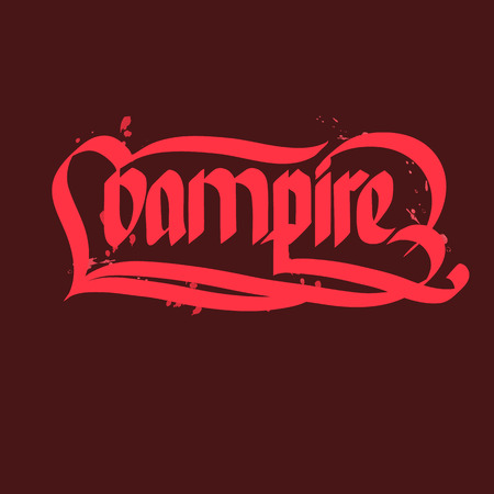 Vampire halloween typographical concept with bright pink letters on dark red background flat vector illustration Illustration