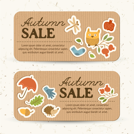 Brown vintage autumn sale horizontal banners with text and traditional elements and icons vector illustration