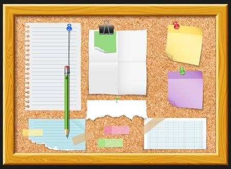 Cork board and note papers design with pencil clip and tacks photos on black background vector illustration Illustration