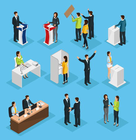 Izometryczne wybory ludzi zestaw z debatami politycznymi proces głosowania w kampanii kandydaci na kabinę wyborczą rozmowę kwalifikacyjną na białym tle ilustracji wektorowych