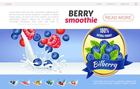 Cartoon sweet natural smoothies webpage concept with raspberry bilberry cranberry currants cherry gooseberry in milk splashes and blueberry label vector illustration