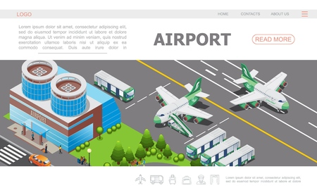 Modèle de page d'atterrissage de l'aéroport isométrique avec la construction d'un avion sur l'illustration vectorielle des passagers des bus de piste