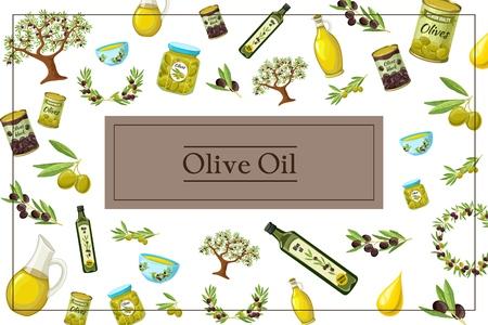 Dessin animé olive concept coloré avec huile d'olive arbre branches guirlande canettes bouteilles pots pots bols gouttes en illustration vectorielle de cadre rectangulaire