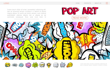 Pop art bright web page concept with colorful speech bubbles comic wordings halftone sound and explosive humor effects vector illustration
