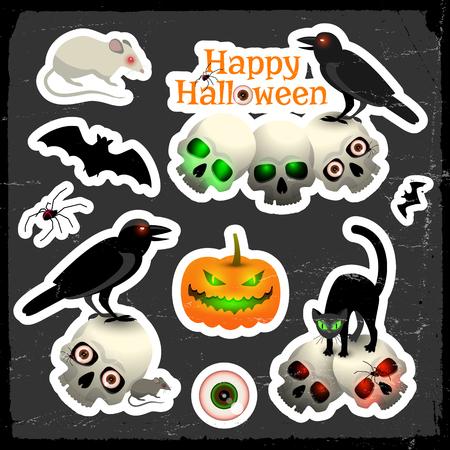 Happy halloween design concept with eye skulls spider pumpkin bat crows white rat and black cat cartoon icons on black background vector illustration
