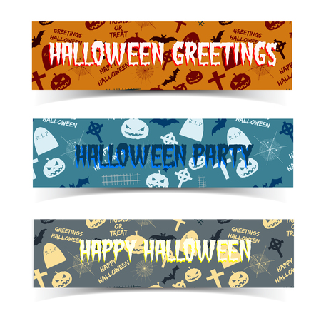 Set of horizontal banners with halloween seamless patterns including animals tombstones lanterns of jack isolated vector illustration