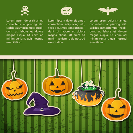 Abstract Halloween Holiday greeting poster with text and hanging pumpkins witch hat cauldron on green background vector illustration Stockfoto - 109714376