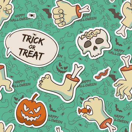 Happy Halloween seamless pattern with skull zombie arms leg evil pumpkin caterpillar bone candy vector illustration