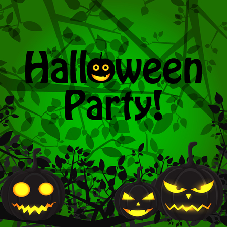 Halloween Party scary template with emotional evil pumpkins and natural tree branches on green background vector illustration Ilustração