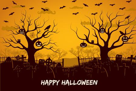 Feliz composición de halloween con pájaros y linternas en el cementerio de árboles y murciélagos voladores en la ilustración de vector de puesta de sol
