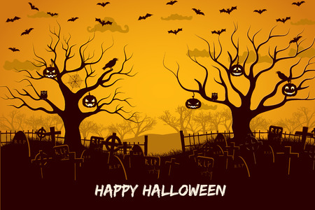 Happy halloween composition with birds and lanterns at trees cemetery and flying bats at sunset vector illustration