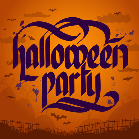 Halloween party typographical concept with violet letters on spooky background with bats flat vector illustration Ilustração