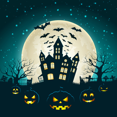 Halloween party poster with silhouette of castle at glowing moon background and dead trees near cemetery crosses flat vector illustration Standard-Bild - 110174988