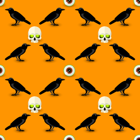 Scary Halloween seamless pattern with skull black raven and human eye on orange background vector illustration