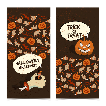 Cartoon Halloween vertical banners with zombie arm creepy pumpkin and icons background vector illustration 일러스트