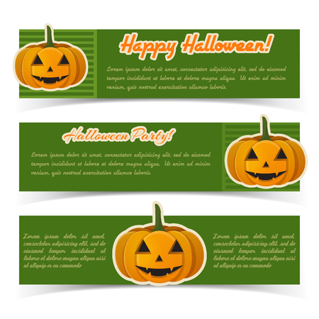 Festive Halloween horizontal banners with text and smiling pumpkins paper stickers on green background vector illustration Illustration